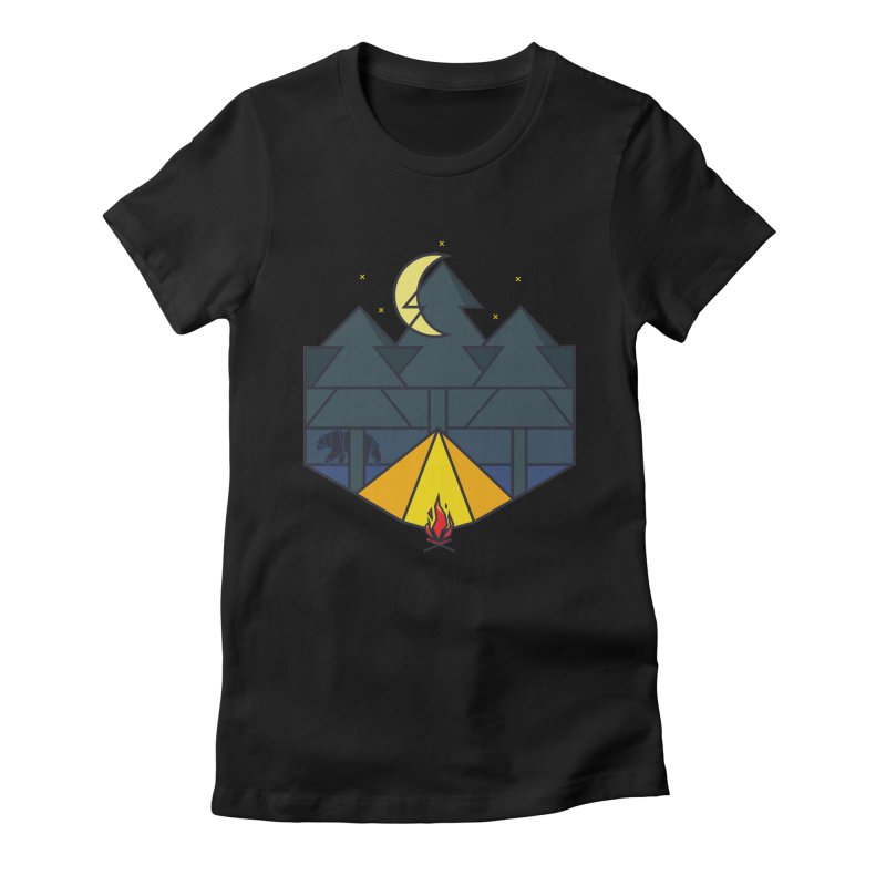 Night camp fire Women's Fitted T-Shirt by delcore's Artist Shop