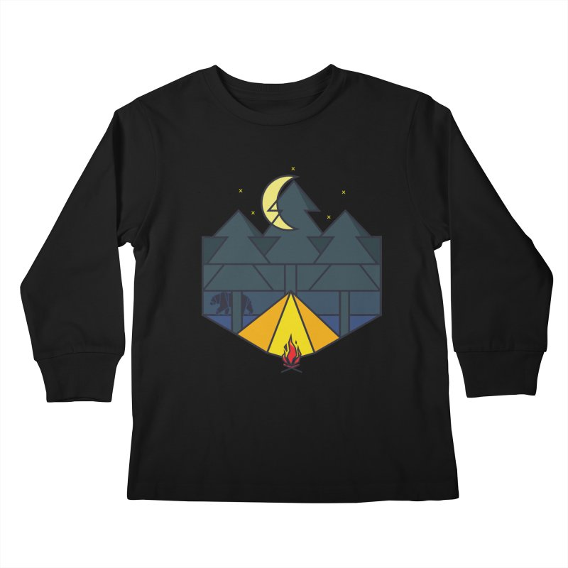 Night camp fire Kids Longsleeve T-Shirt by delcore's Artist Shop