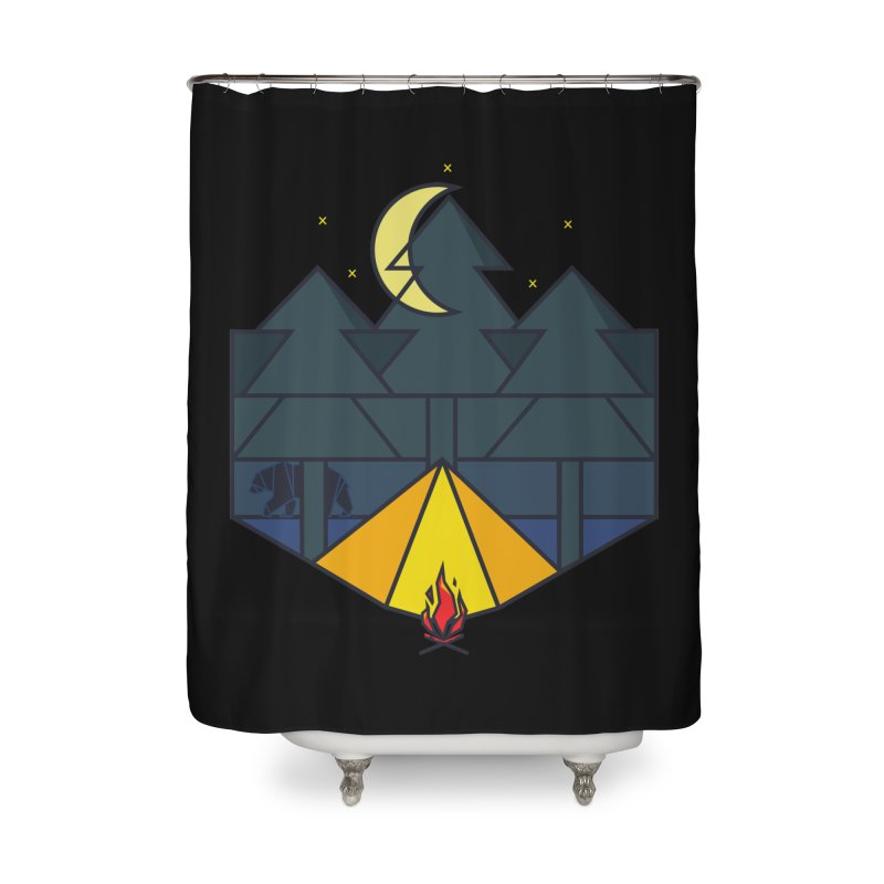 Night camp fire Home Shower Curtain by delcore's Artist Shop