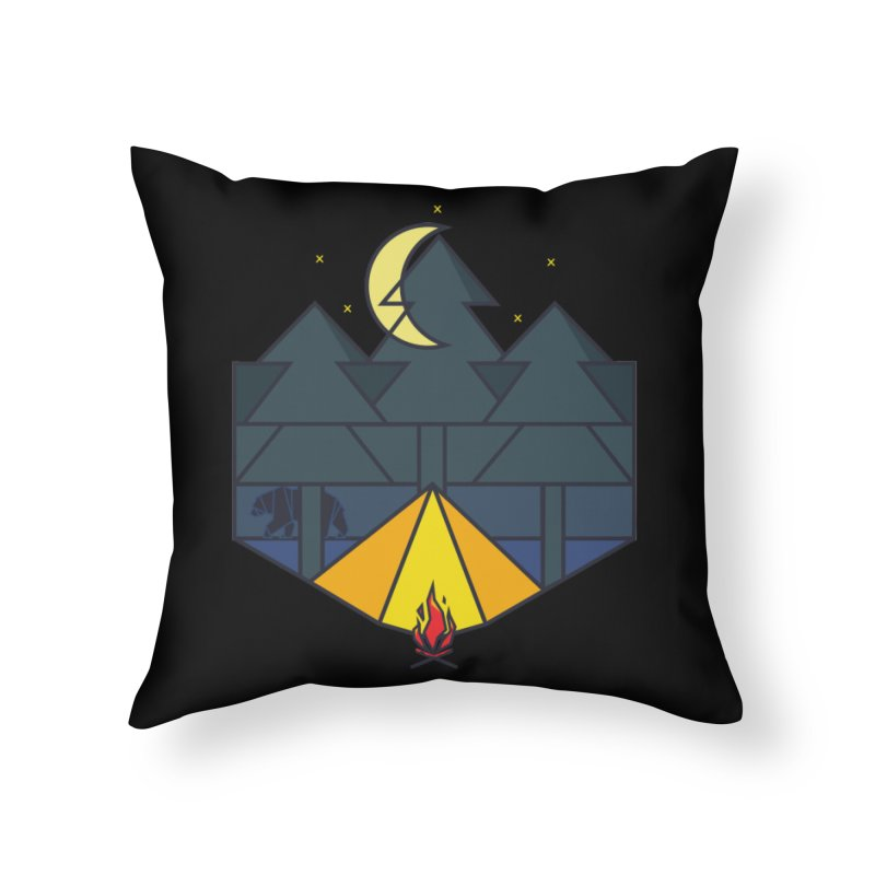 Night camp fire Home Throw Pillow by delcore's Artist Shop