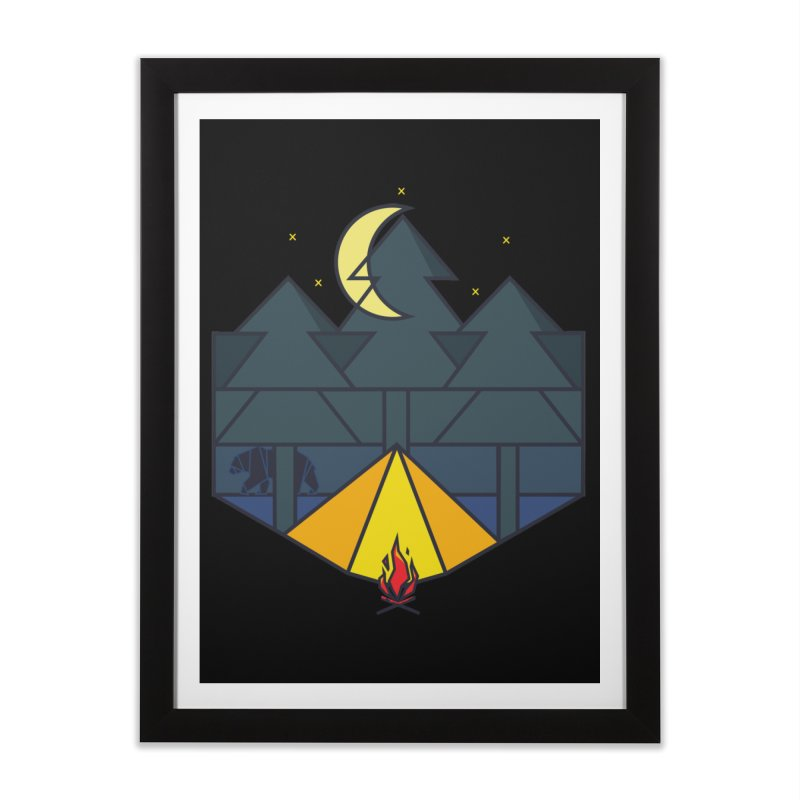Night camp fire Home Framed Fine Art Print by delcore's Artist Shop