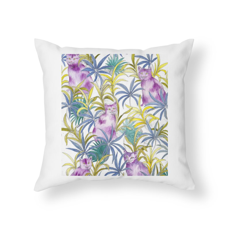 Cats in the garden Home Throw Pillow by delcore's Artist Shop