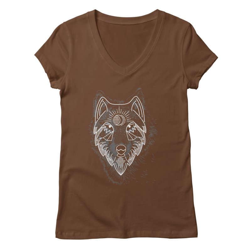 Wolfie Women's V-Neck by delcored