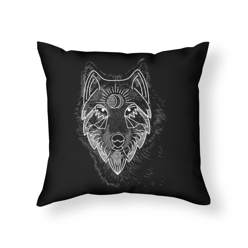 Wolfie Home Throw Pillow by delcored