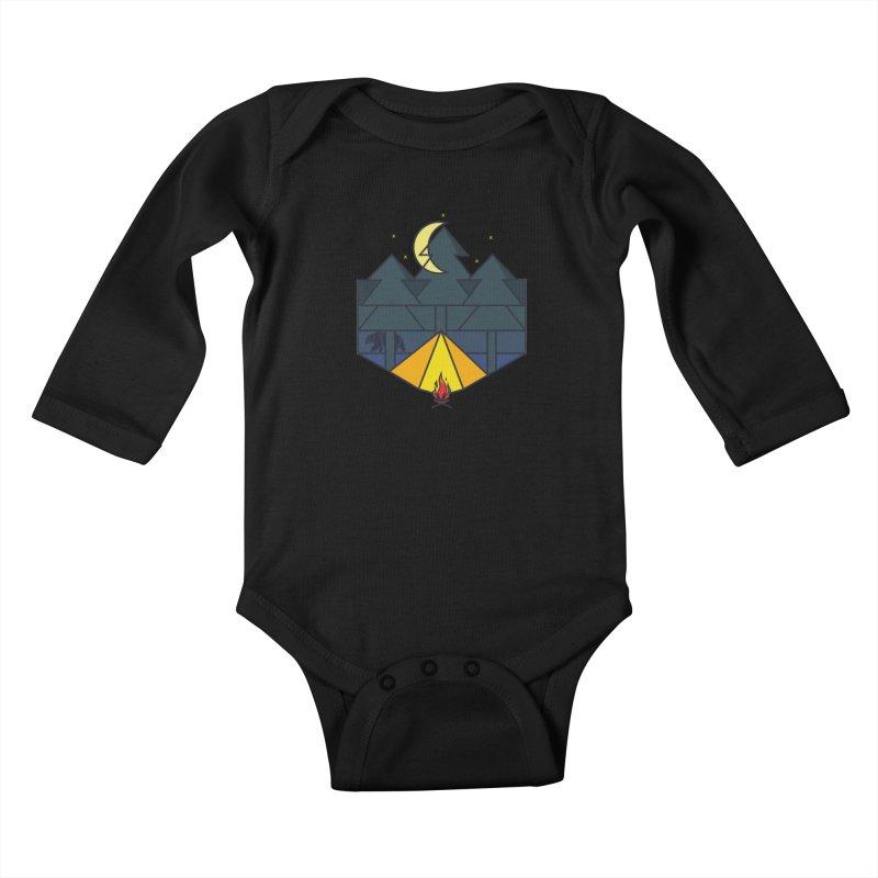 night camp Kids Baby Longsleeve Bodysuit by delcored