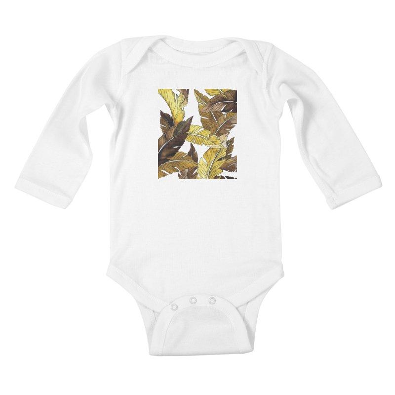 falling leaf Kids Baby Longsleeve Bodysuit by delcored