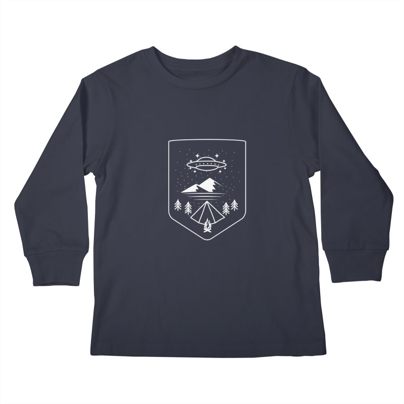 Unidentified Winter Camp in Kids Longsleeve T-Shirt Midnight by delcored