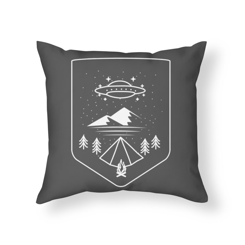Unidentified Winter Camp Home Throw Pillow by delcored