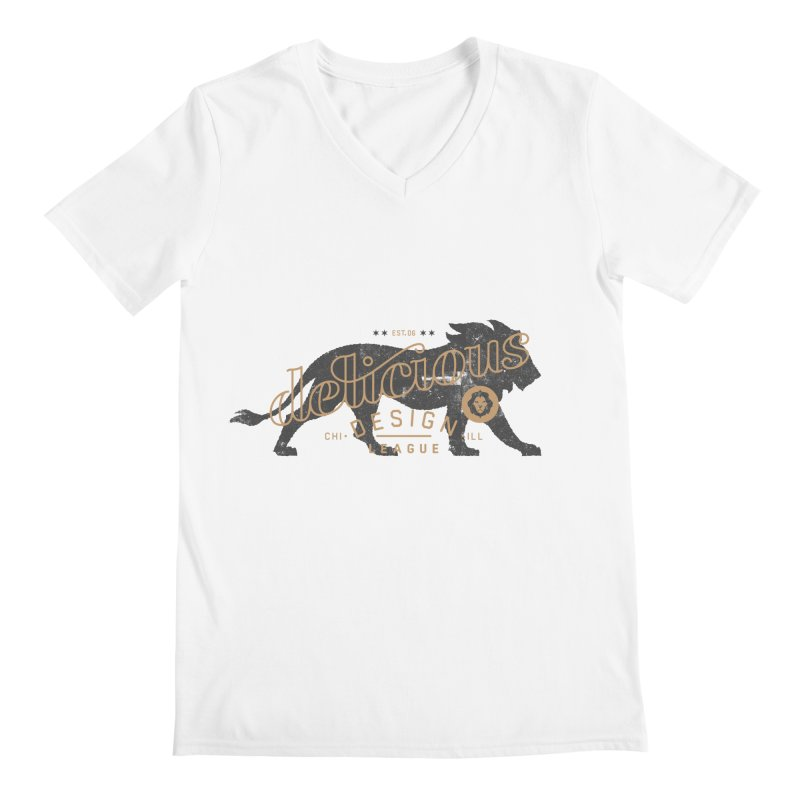Delicious Logo Lion Lock-up Men's V-Neck by Delicious Design League