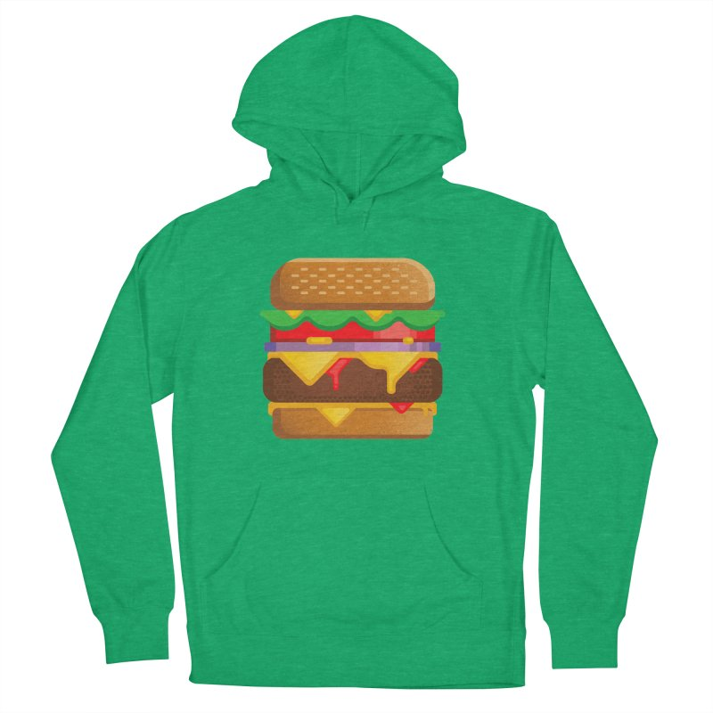 Burger Men's French Terry Pullover Hoody by deliciousdesignleague's Artist Shop