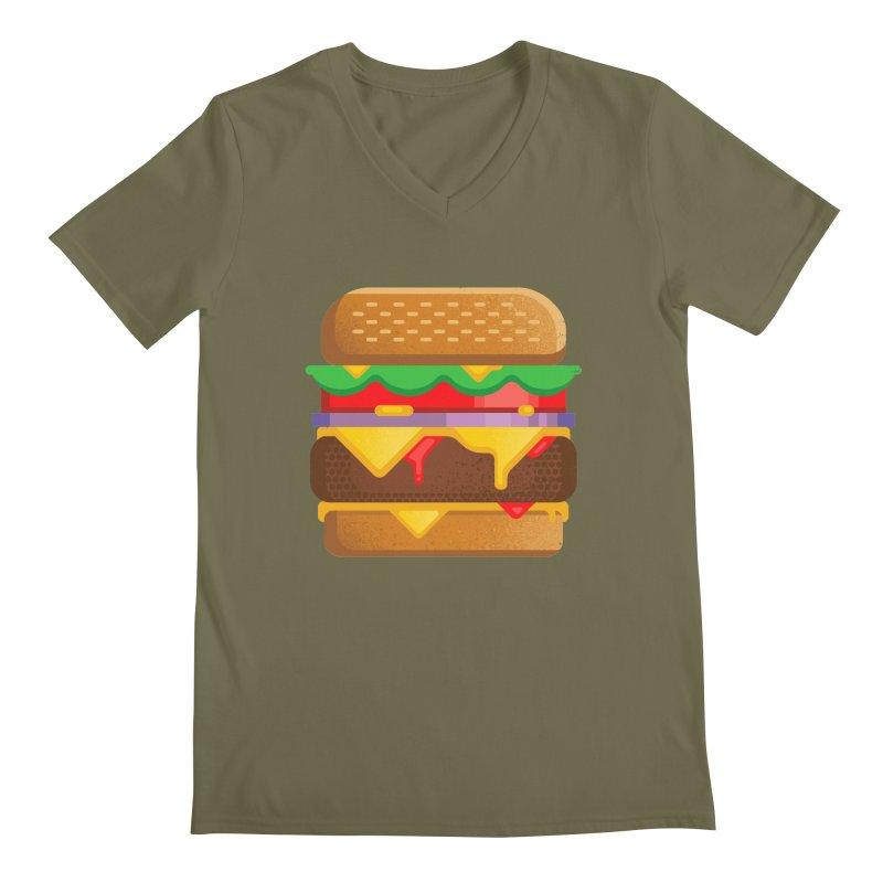 Burger Men's Regular V-Neck by deliciousdesignleague's Artist Shop