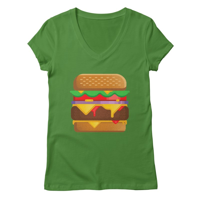 Burger Women's V-Neck by deliciousdesignleague's Artist Shop