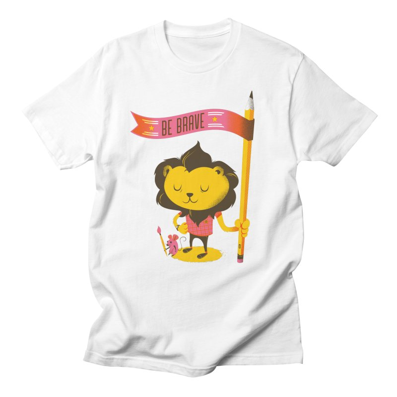 Be Brave Lion Men's Regular T-Shirt by Delicious Design Studio