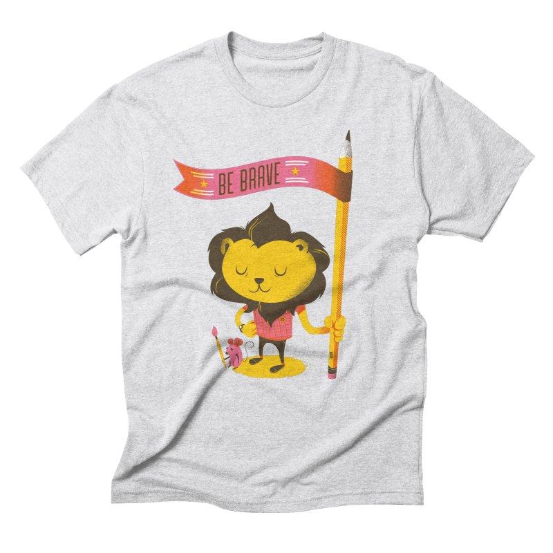 Be Brave Lion Men's Triblend T-Shirt by Delicious Design Studio