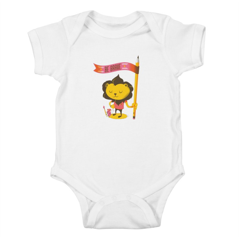 Be Brave Lion Kids Baby Bodysuit by deliciousdesignleague's Artist Shop