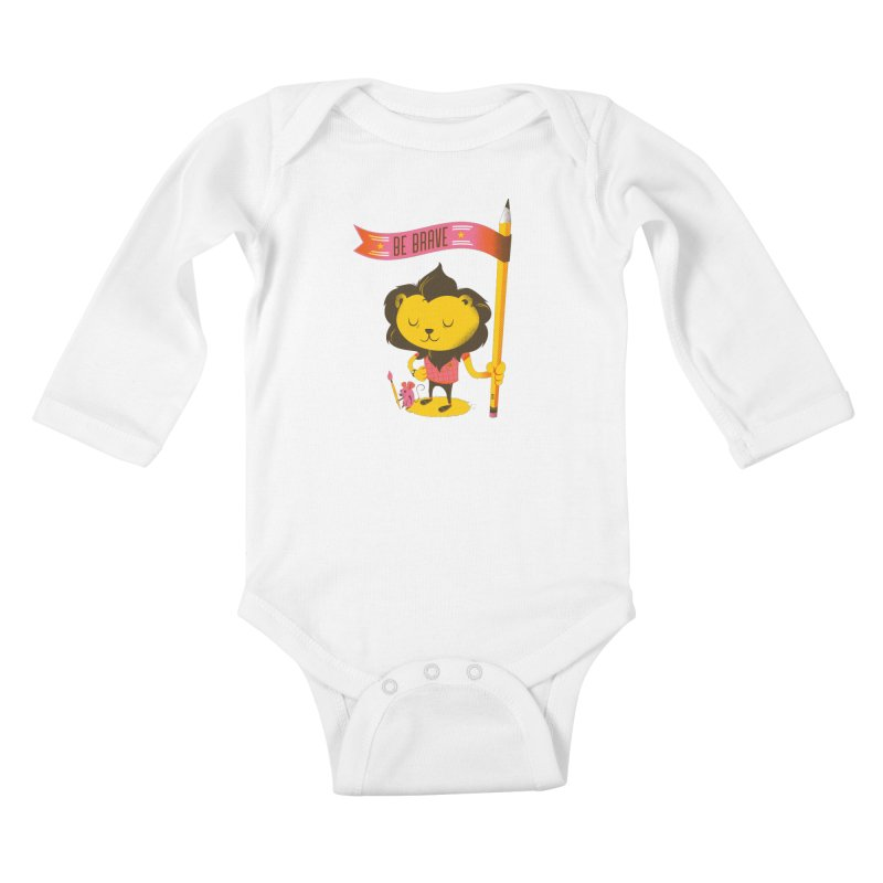Be Brave Lion Kids Baby Longsleeve Bodysuit by deliciousdesignleague's Artist Shop