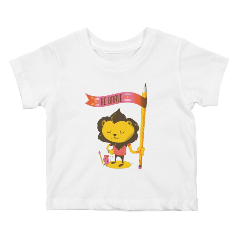Be Brave Lion Kids Baby T-Shirt by deliciousdesignleague's Artist Shop
