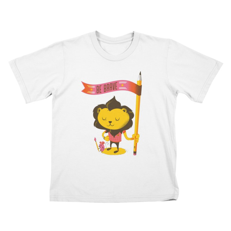 Be Brave Lion Kids T-Shirt by Delicious Design Studio
