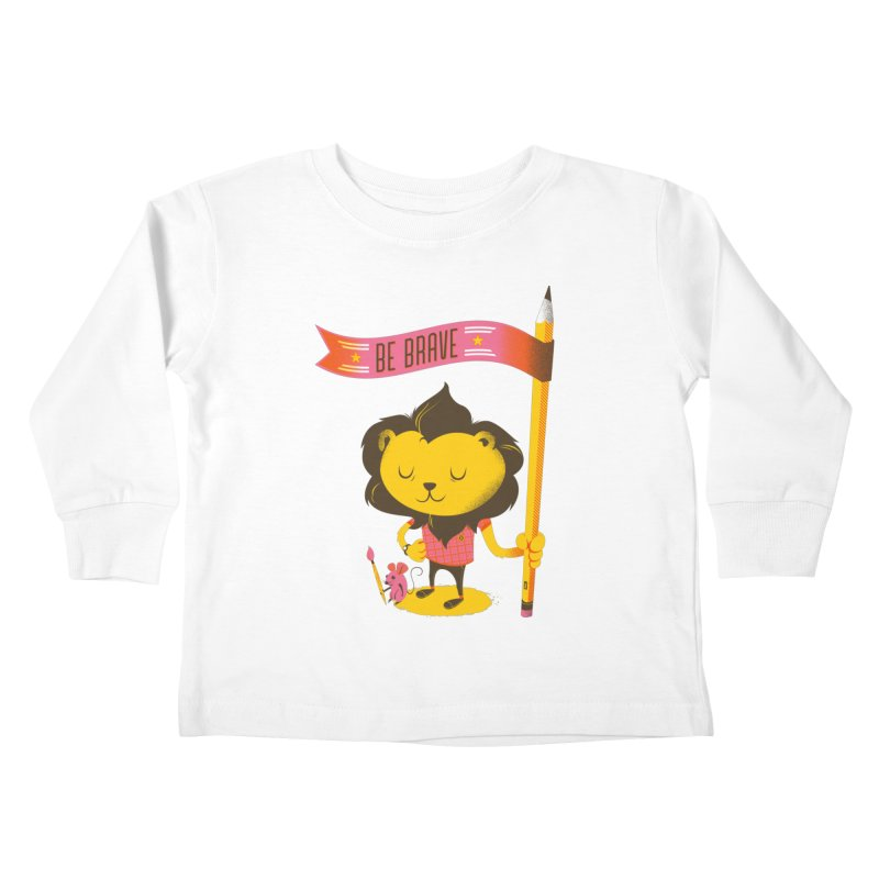 Be Brave Lion Kids Toddler Longsleeve T-Shirt by Delicious Design Studio