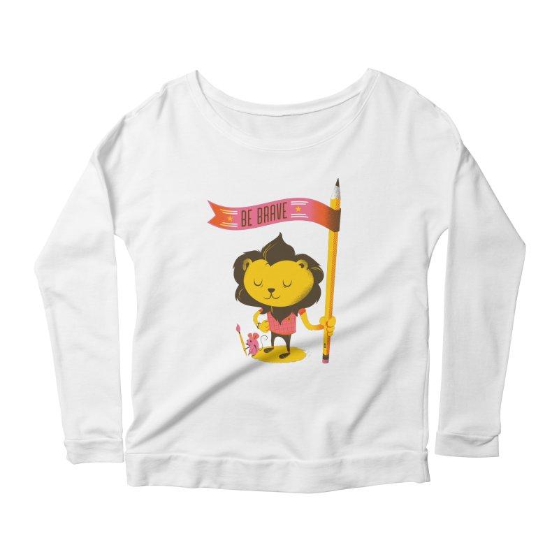 Be Brave Lion Women's Scoop Neck Longsleeve T-Shirt by Delicious Design Studio