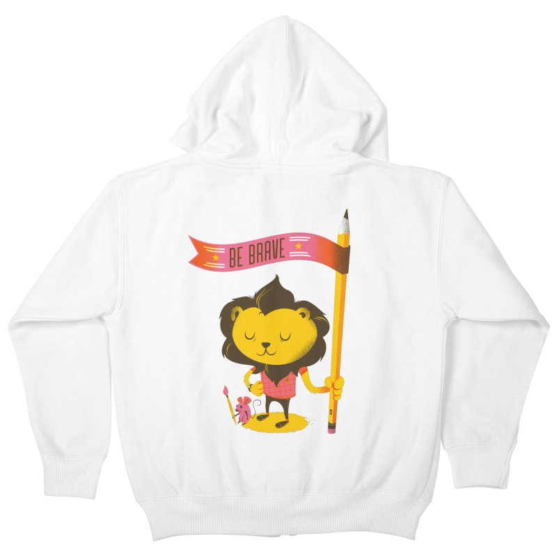 Be Brave Lion Kids Zip-Up Hoody by deliciousdesignleague's Artist Shop