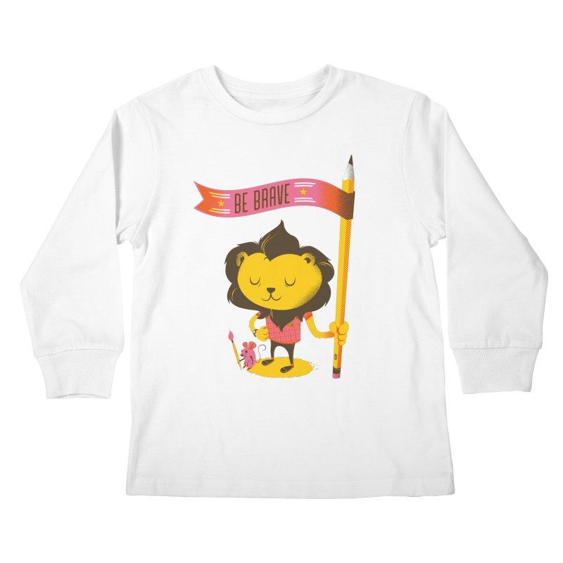 Be Brave Lion Kids Longsleeve T-Shirt by Delicious Design Studio