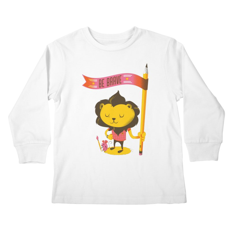Be Brave Lion Kids Longsleeve T-Shirt by deliciousdesignleague's Artist Shop