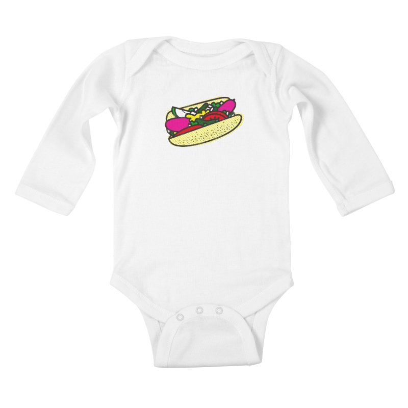 Chicago Dog Kids Baby Longsleeve Bodysuit by Delicious Design Studio