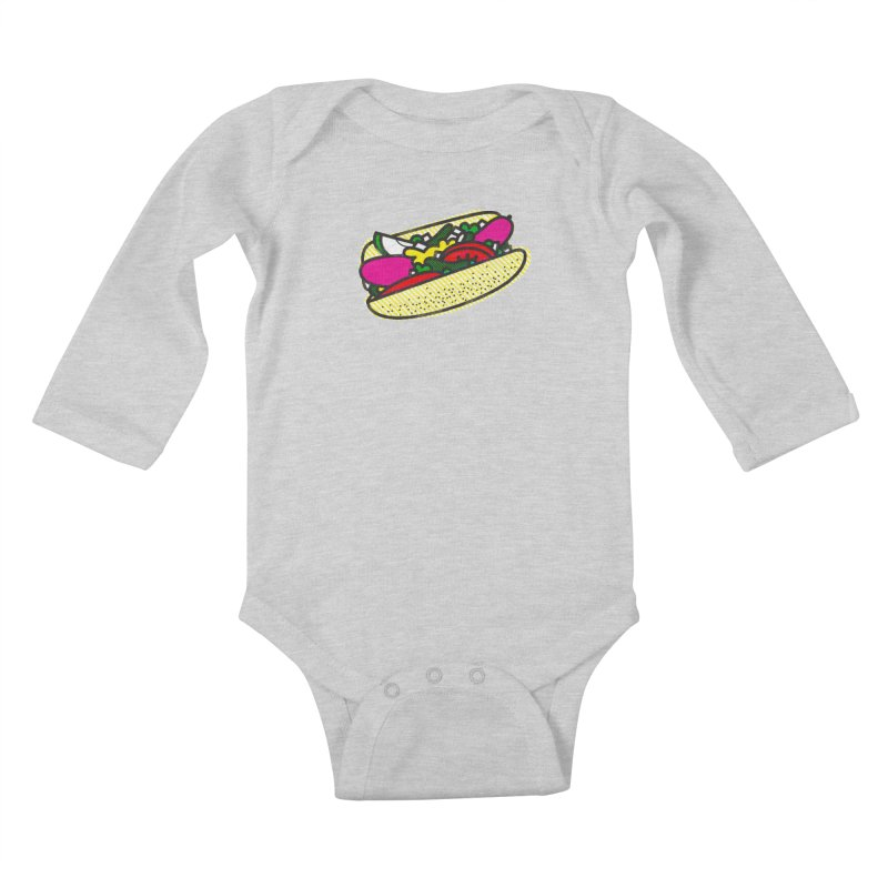 Chicago Dog Kids Baby Longsleeve Bodysuit by deliciousdesignleague's Artist Shop