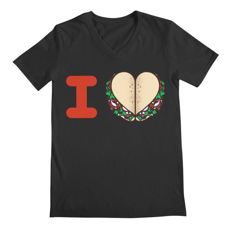 I Heart Tacos Men's Regular V-Neck by deliciousdesignleague's Artist Shop