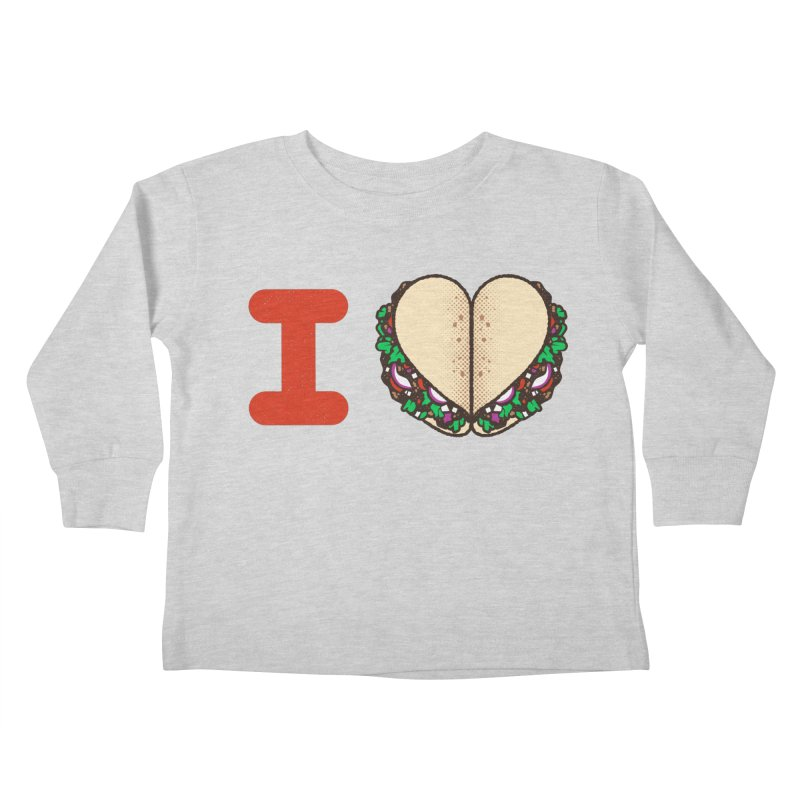 I Heart Tacos Kids Toddler Longsleeve T-Shirt by Delicious Design Studio