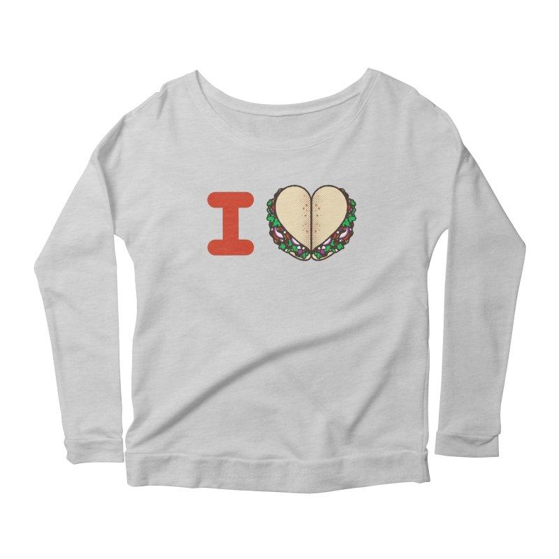 I Heart Tacos Women's Scoop Neck Longsleeve T-Shirt by deliciousdesignleague's Artist Shop