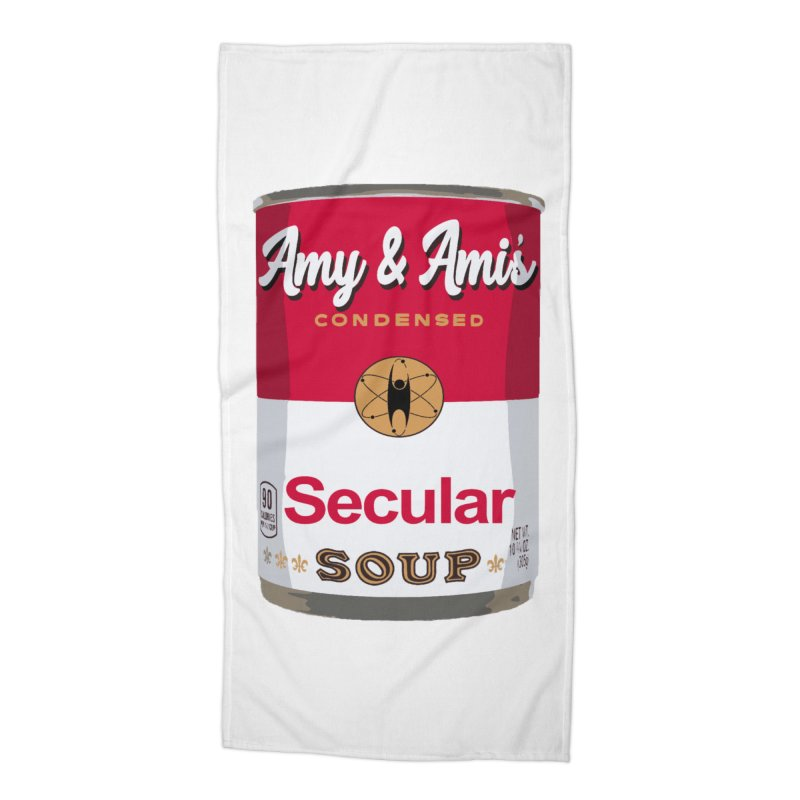 Secular Soup Can Accessories Beach Towel by Delightful Bitchcraft Merch Marketplace