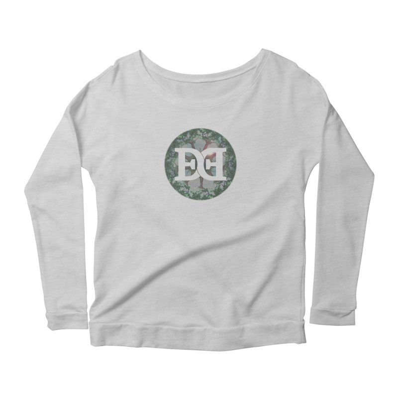 DEED logo Trees Women's Scoop Neck Longsleeve T-Shirt by Demeter Designs Artist Shop