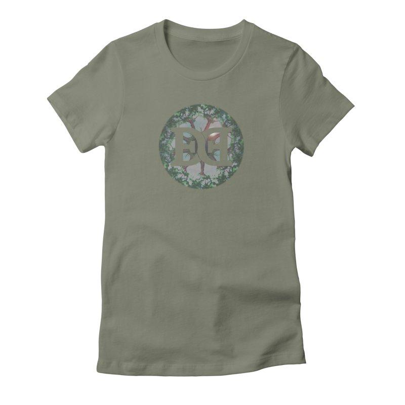 DEED logo Trees Women's Fitted T-Shirt by Demeter Designs Artist Shop