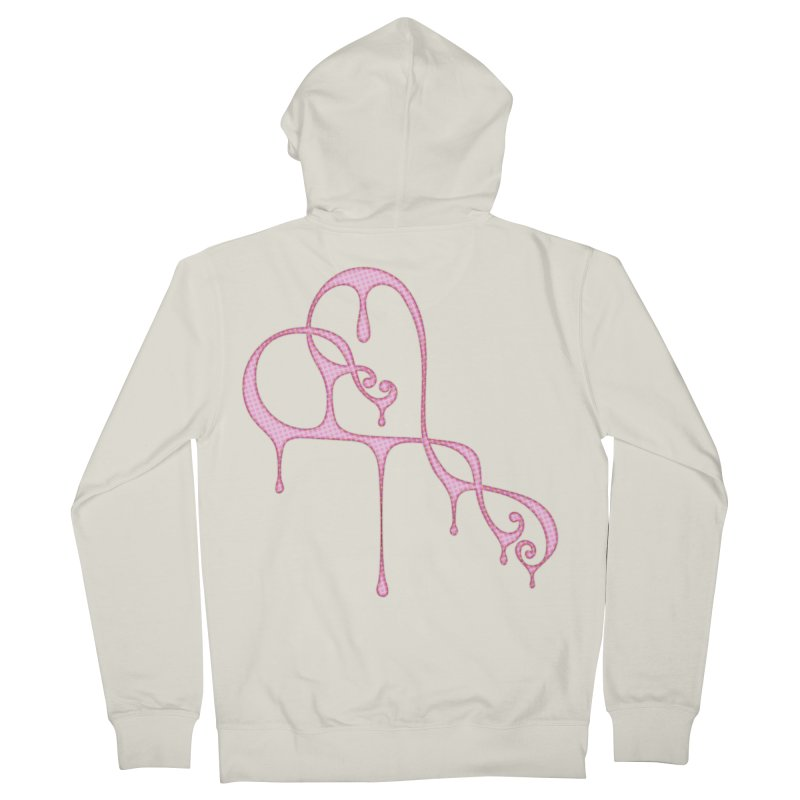 Bleeding Heart (Polka Dots Light Pink) Men's French Terry Zip-Up Hoody by Demeter Designs Artist Shop