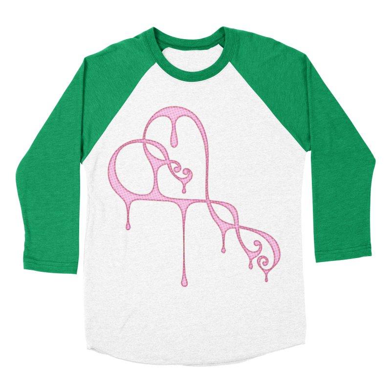 Bleeding Heart (Polka Dots Light Pink) Women's Baseball Triblend Longsleeve T-Shirt by Demeter Designs Artist Shop