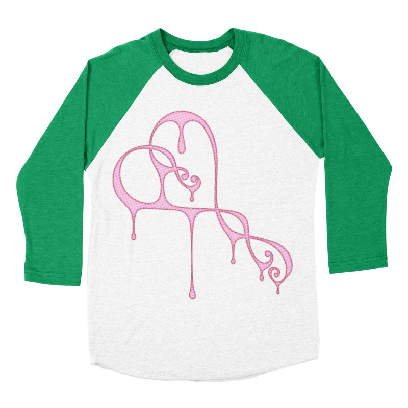 Bleeding Heart (Polka Dots Light Pink) Men's Baseball Triblend Longsleeve T-Shirt by Demeter Designs Artist Shop
