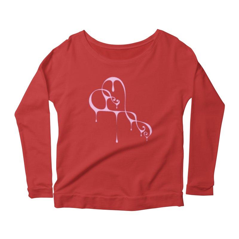 Bleeding Heart (Polka Dots Light Pink) Women's Scoop Neck Longsleeve T-Shirt by Demeter Designs Artist Shop