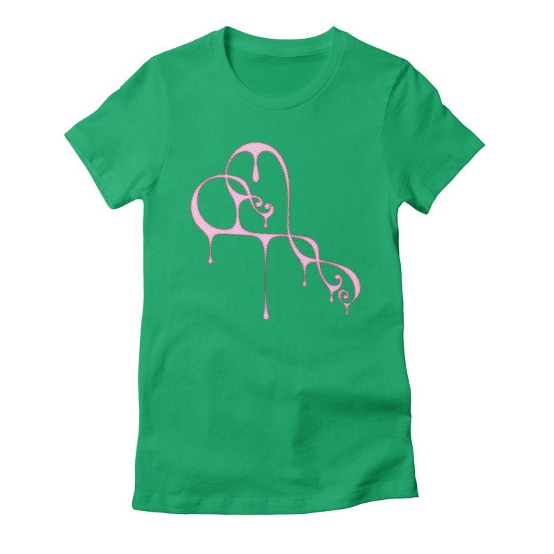 Bleeding Heart (Polka Dots Light Pink) Women's Fitted T-Shirt by Demeter Designs Artist Shop