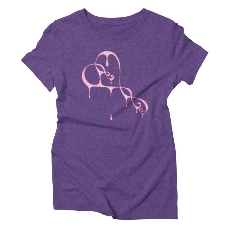 Bleeding Heart (Polka Dots Light Pink) Women's Triblend T-Shirt by Demeter Designs Artist Shop