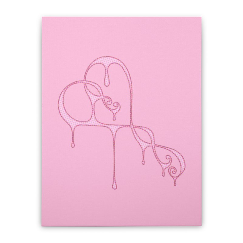 Bleeding Heart (Polka Dots Light Pink) Home Stretched Canvas by Demeter Designs Artist Shop