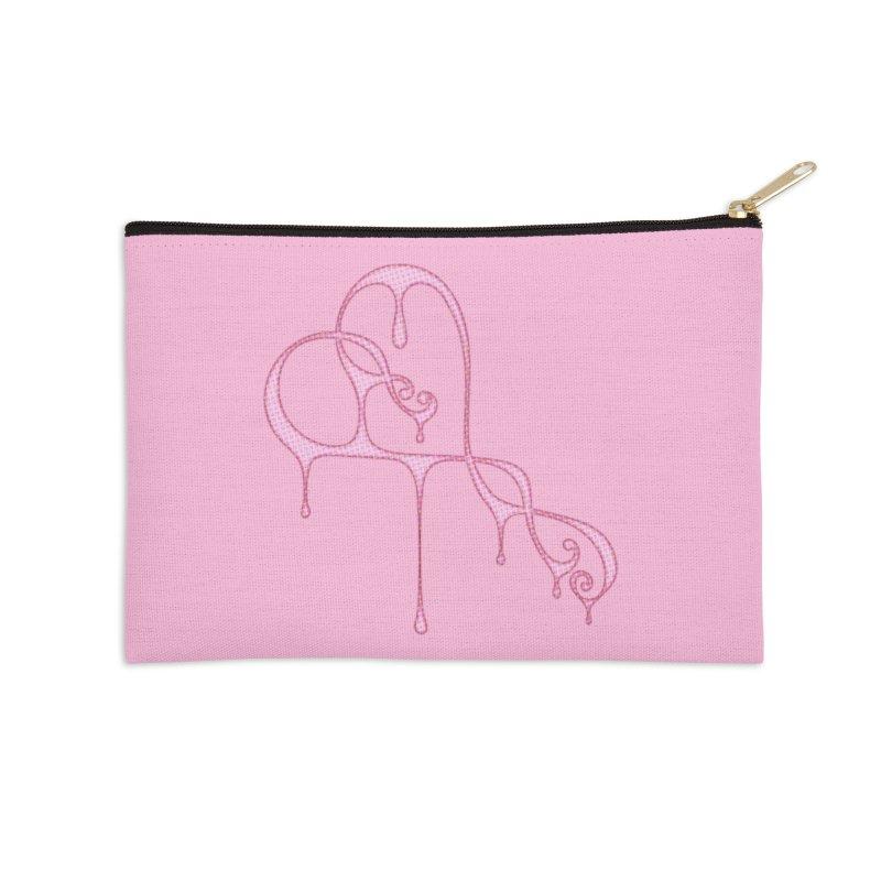 Bleeding Heart (Polka Dots Light Pink) Accessories Zip Pouch by Demeter Designs Artist Shop