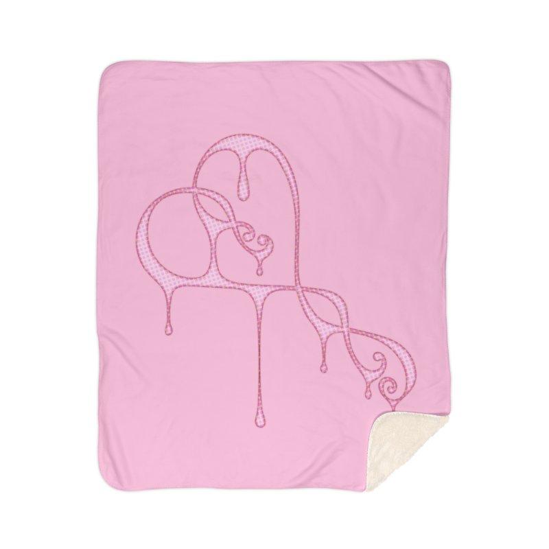 Bleeding Heart (Polka Dots Light Pink) Home Sherpa Blanket Blanket by Demeter Designs Artist Shop