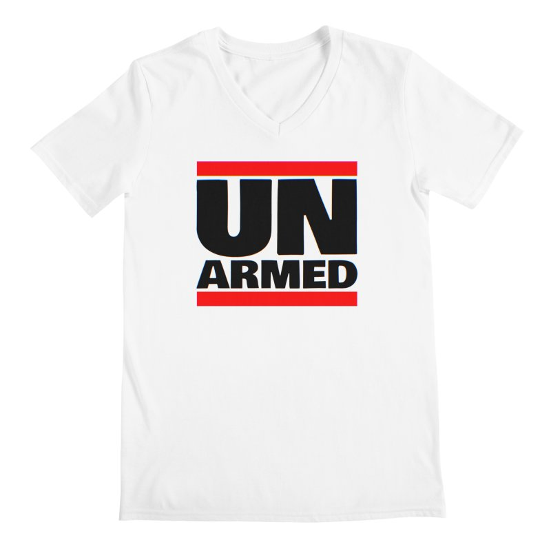 UN Armed | White Men's V-Neck by Demione Louis Shop
