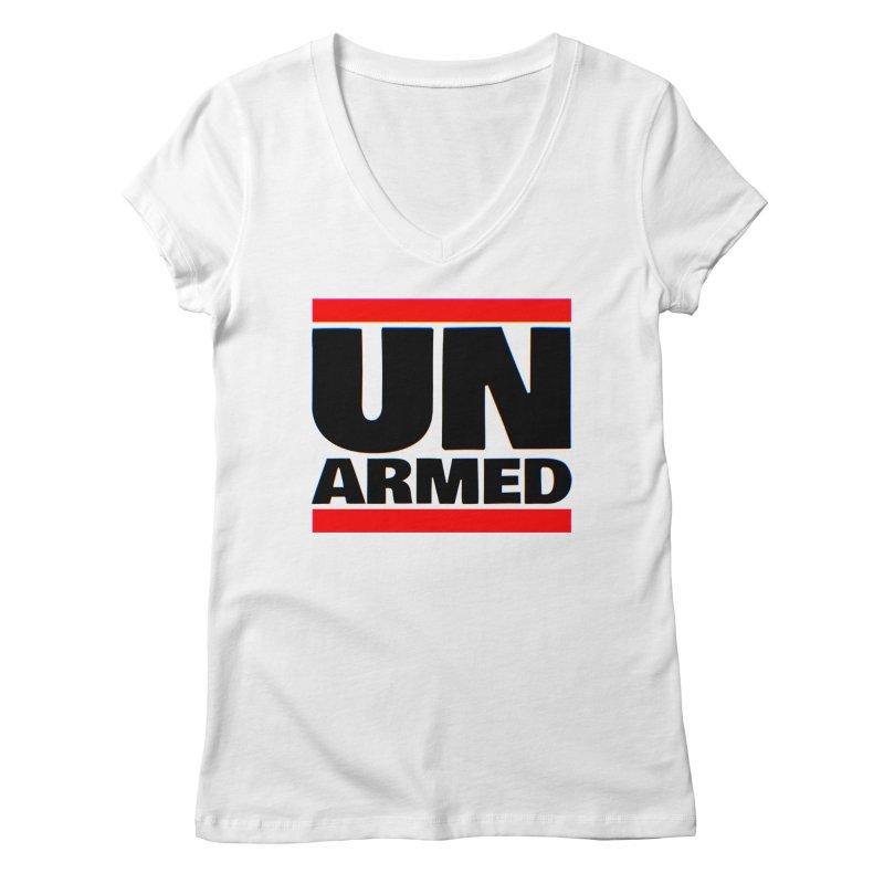 UN Armed | White Women's V-Neck by Demione Louis Shop
