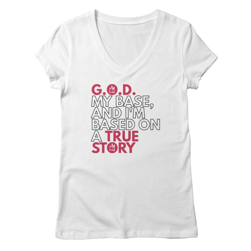 True Story (White) Lyric T-Shirt Women's V-Neck by Demione Louis Shop