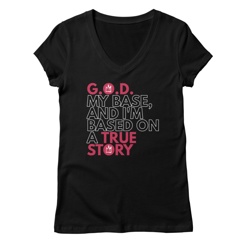 True Story (Black) Lyric T-Shirt Women's V-Neck by Demione Louis Shop