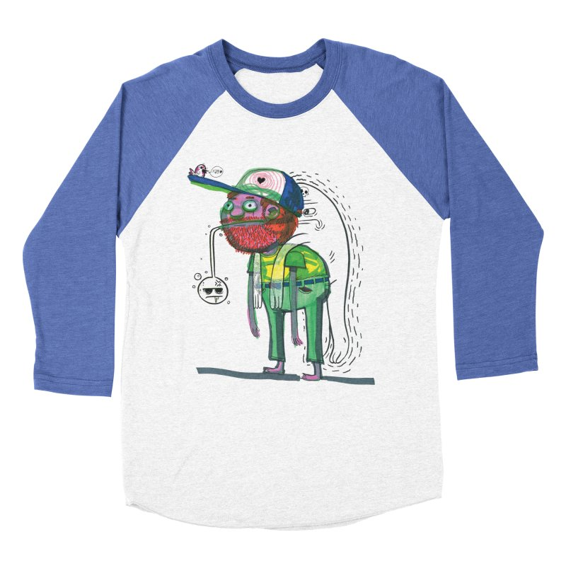 Not-So-Imaginary Friends in Men's Baseball Triblend Longsleeve T-Shirt Tri-Blue Sleeves by Democratee