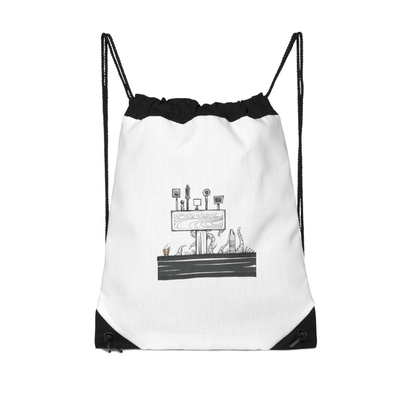 Don't Worry, Be Hoppy Accessories Drawstring Bag Bag by Democratee